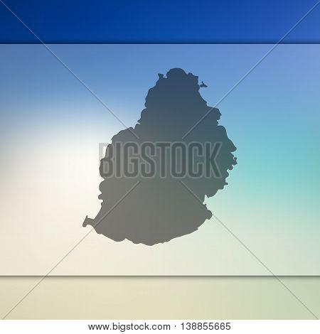 Mauritius map on blurred background. Blurred background with silhouette of Mauritius. Mauritius. Mauritius map. Blurred background.