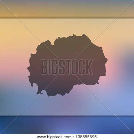 Macedonia map on blurred background. Blurred background with silhouette of Macedonia. Macedonia. Macedonia map.
