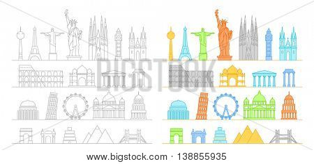 Famous buildings silhouettes collection. Lineart illustration