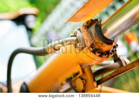 fragment of the industrial machine with blurred background