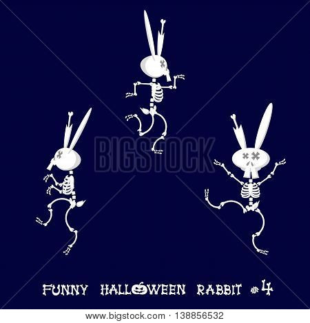 Cute and funny skeleton rabbit in different poses: activity dance yoga or gymnastic. Drawing in cartoon style isolated on dark blue background. Set of design elements. Vector illustration