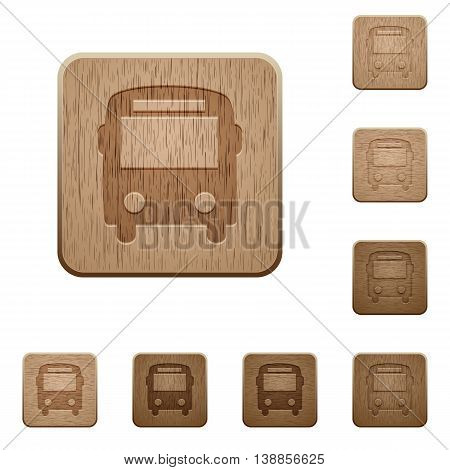 Set of carved wooden bus buttons in 8 variations.