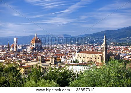 Italy. Florence. View of the city on top and Cathedral Santa Maria del Fiore