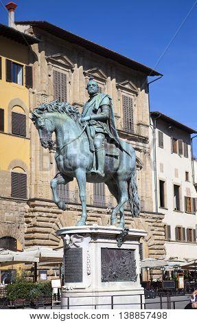Monument of Cosimo Medici (1519-74) Italy. Florence. Piazza della Signoria.