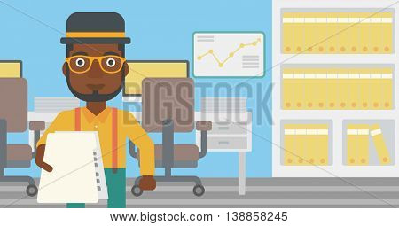 An african-american young businessman giving a resume in office. Man giving to the employer his curriculum vitae. Job interview concept. Vector flat design illustration. Horizontal layout.