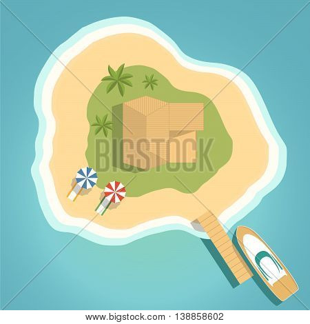 Landscape illustration the island the top view with the yacht at a pier palm trees also bungalow  a vector by sea for a leaflet, the booklet, a poster, a banner around.