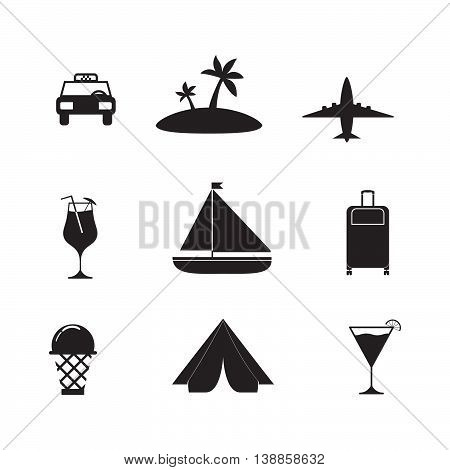 Vector flat icons with the image of the plane, car, a palm tree, a suitcase, ice cream. Set of icons about travel to the south