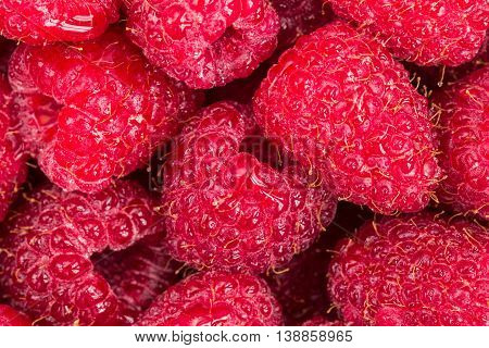 Background made of many fresh red raspberries