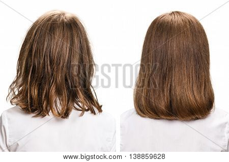Hair before and after treatment. Haircare concept. Damaged Hair Treatment