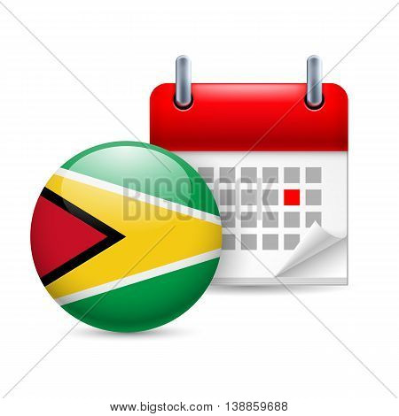 Calendar and round Guyanese flag icon. National holiday in Guyana