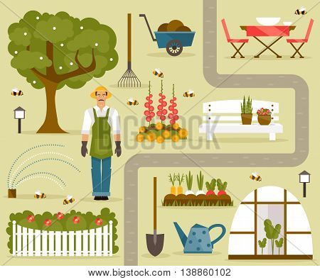 Set of vector illustrations on the theme of the garden and vegetable garden