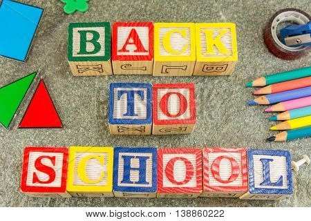 Back To School Written With Wooden Cubical Letters
