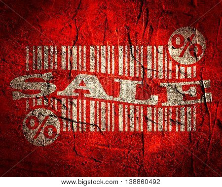 grunge textured sales relarive background with bar code and sale word