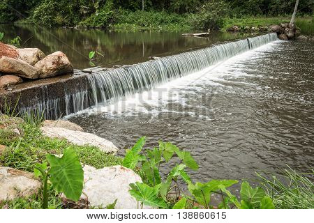 Small and wide waterfall with moving brown water flowing which surround by rocks stone bush and tree in tropical forest.