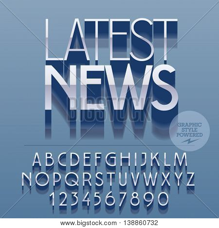 Set of glossy silver alphabet letters, numbers and punctuation symbols. Vector reflective banner with text Latest news. File contains graphic styles
