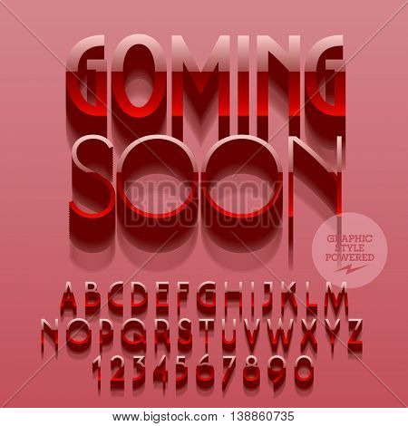 Set of glossy plastic alphabet letters, numbers and punctuation symbols. Vector reflective promo poster with text Coming soon. File contains graphic styles