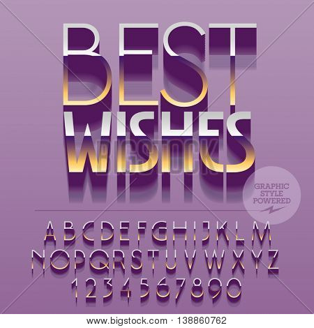 Set of glossy golden alphabet letters, numbers and punctuation symbols. Vector reflective postcard with text Best wishes. File contains graphic styles