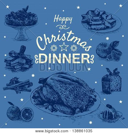 Vector illustration with Christmas dinner menu. Different Christmas meals on dark blue background