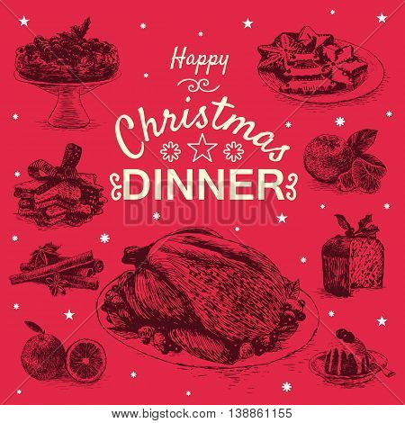 Vector illustration with Christmas dinner menu. Different Christmas meals on red background
