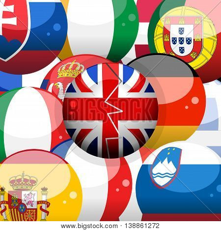 European 3D Flags Spheres Background and Union Jack Broken Sphere on Top