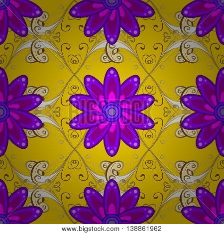 Seamless lilac doodles flower on yellow background with golden elements. Vector illustration.