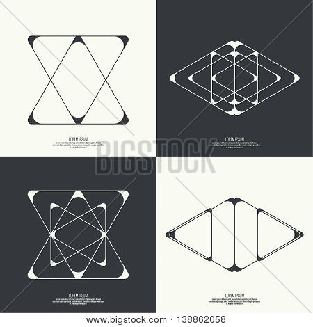 Set Abstract background with intersecting geometric shapes. Triangle geometry. Badge, monogram, banner. Black and White.