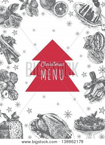 Vector illustration colorful frame with Christmas dinner menu. Different Christmas meals on white background