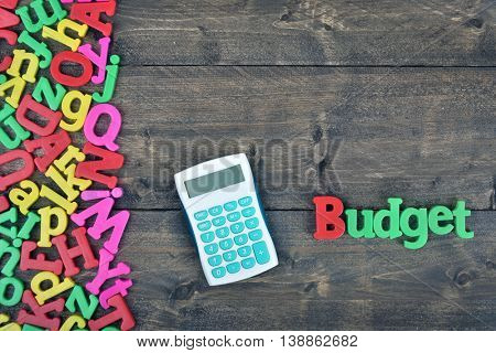 Budget word on wooden table