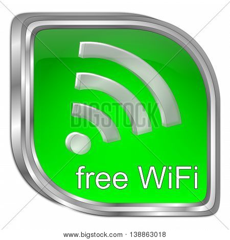 green free wireless WiFi button - 3D illustration