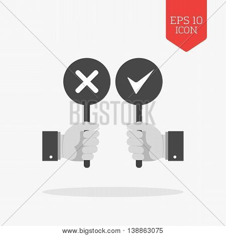 Hands Holding Right And Wrong Signs Icon. Flat Design Gray Color Symbol. Modern Ui Web Navigation.