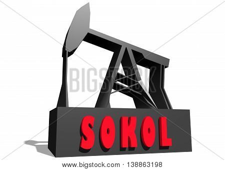 Oil pump and Sokol crude oil name. Energy and power relative backdrop. 3D rendering