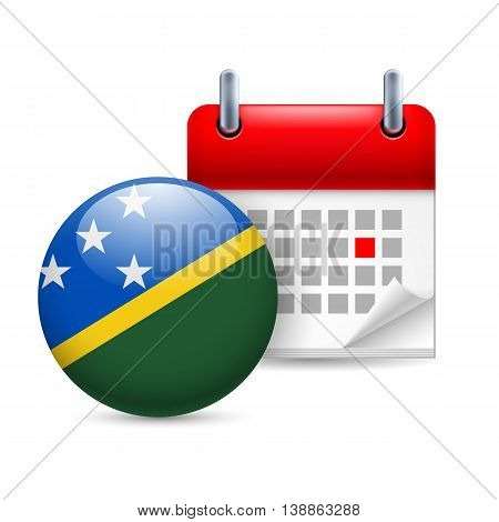 Calendar and round flag icon. National holiday in Solomon Islands