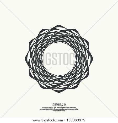Abstract background with intersecting geometric shapes. Rotating star geometry. Badge, monogram, banner. Black and White. spirituality symbol