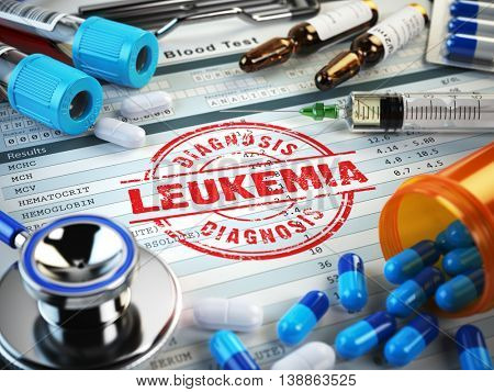 Leukemia diagnosis. Stamp, stethoscope, syringe, blood test and pills on the clipboard with medical report. 3d illustration