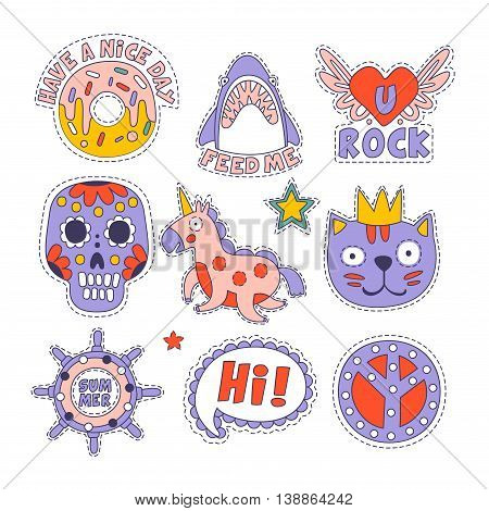 Skull, Doughnut, Cat And Others Bright Childish Stickers With Outlined Border And Funny Messages