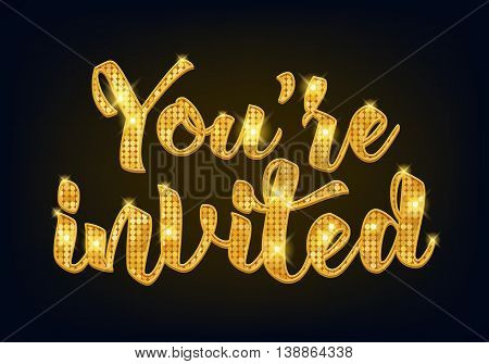 You're invited lettering design vector illustration with stain and ribbon. Golden metallic letters. Good for wedding birthday party celebration design.
