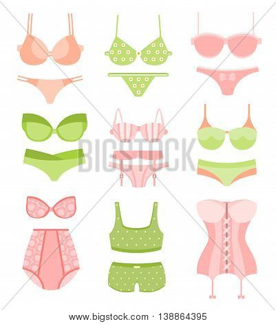 Women Sexy Underwear In Pastel Green And Pick Colors Matching Sets Collection Of Clip Art Objects