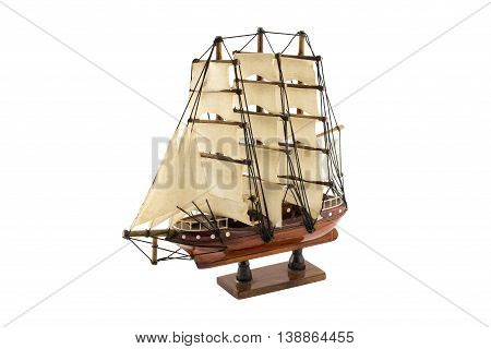 Wooden ship model isolated on white background