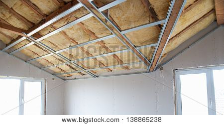 Part of Construction of ceiling insulation- stock image