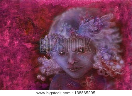 little sweet fairy child portrait, closeup detail on abstract background.