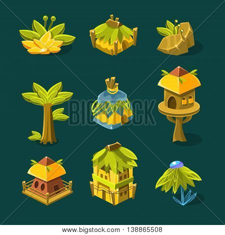 Video Game Tropical Forest Design Collection Of Elements In Cute Vector Childish Style Isolated On White Background