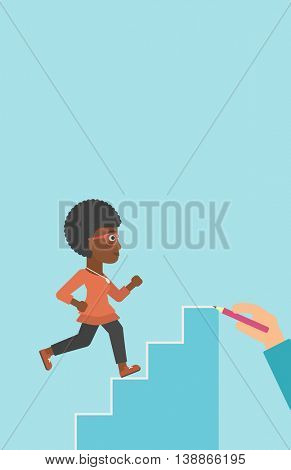 An african-american young business woman running up the stairs drawn by hand with pencile. Concept of business career. Vector flat design illustration. Vertical layout.