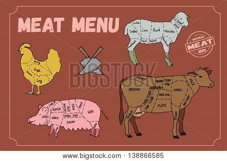 Meat menu. Set of meat symbols, beef, pork, chicken, lamb. Hand drawn vector stock illustration.