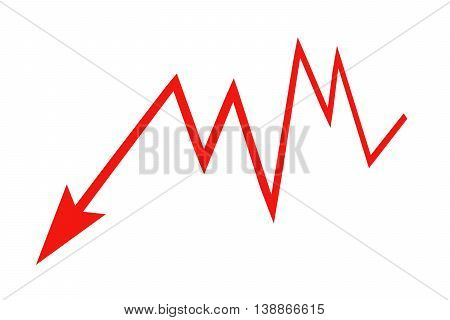 Red sign arrow - graph on a white background