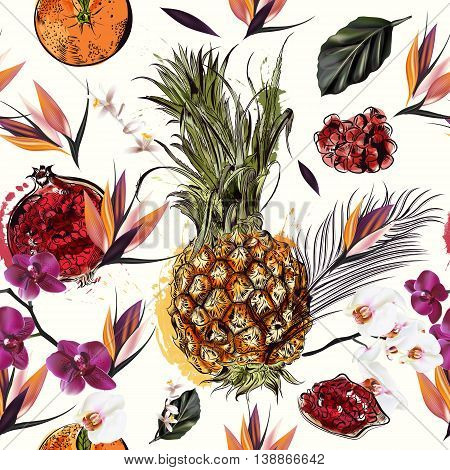 Tropical seamless pattern with fruits palm leafs and orchids