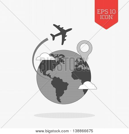 Airplane Flying Over Globe Icon, Travel With Destination Concept. Flat Design Gray Color Symbol. Mod