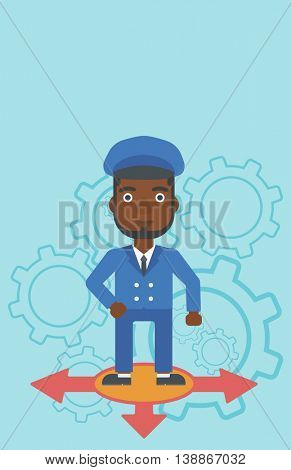 An african-american man standing on three alternative ways on a blue background with cogwheels. Concept of career choices. Vector flat design illustration. Vertical layout.