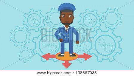 An african-american man standing on three alternative ways on a blue background with cogwheels. Concept of career choices. Vector flat design illustration. Horizontal layout.