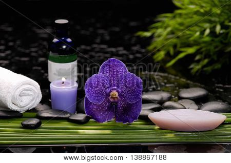 Still life with purple orchid,candle, oil, stones, leaf