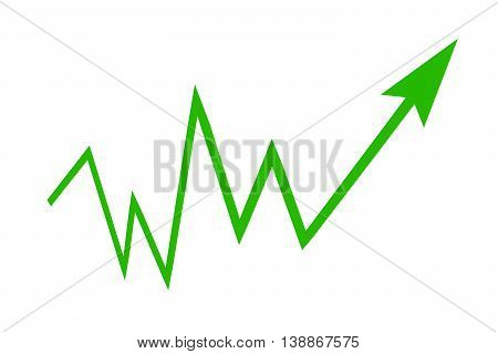 Green sign arrow - graph on a white background